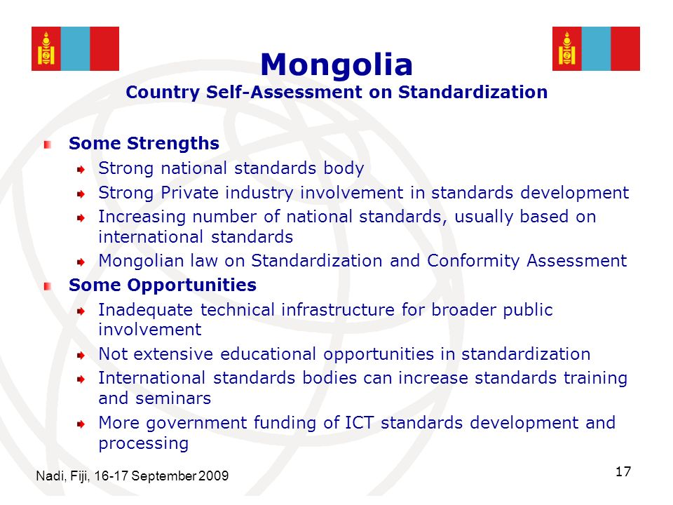 Mongolia Country Self-Assessment on Standardization