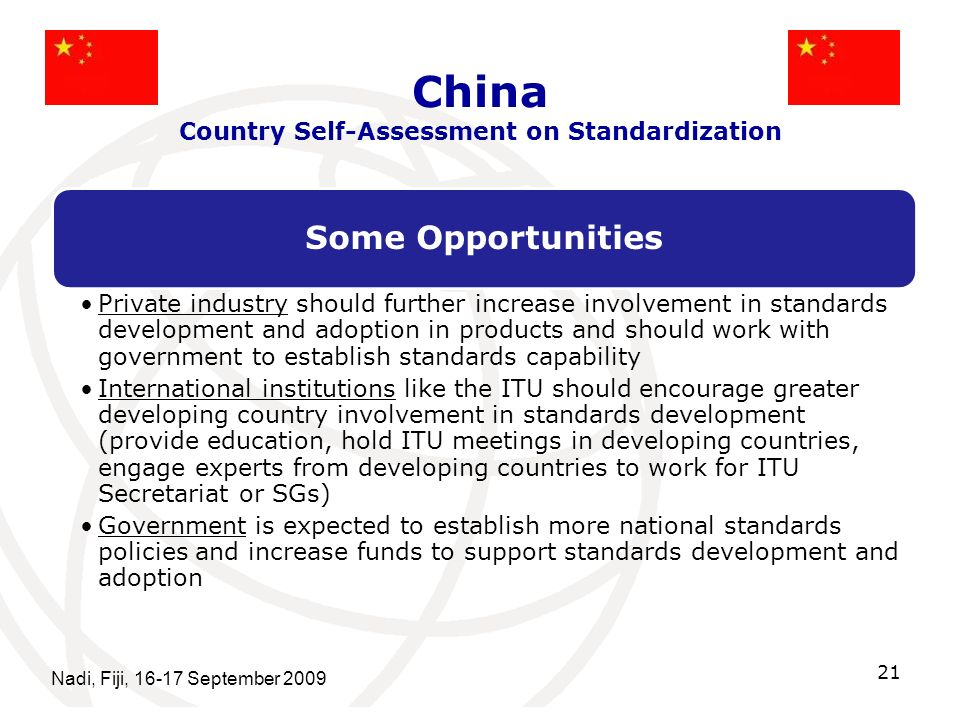 China Country Self-Assessment on Standardization