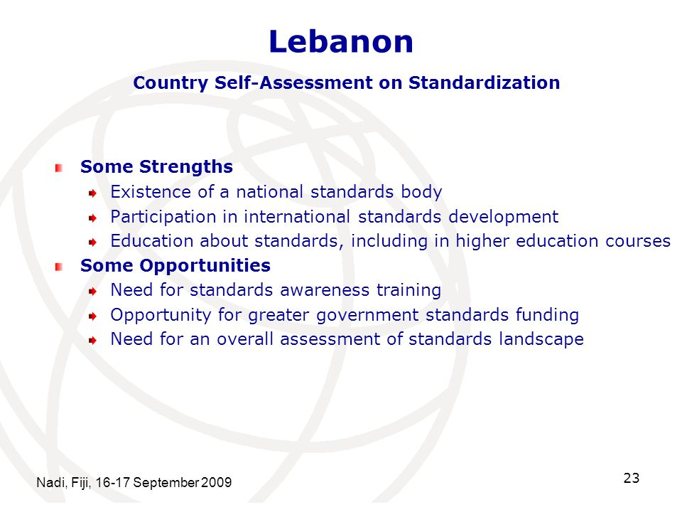 Lebanon Country Self-Assessment on Standardization