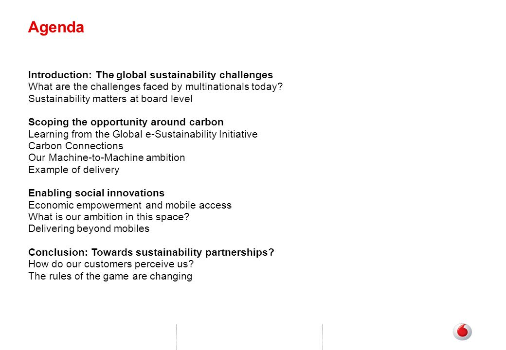 Agenda Introduction: The global sustainability challenges