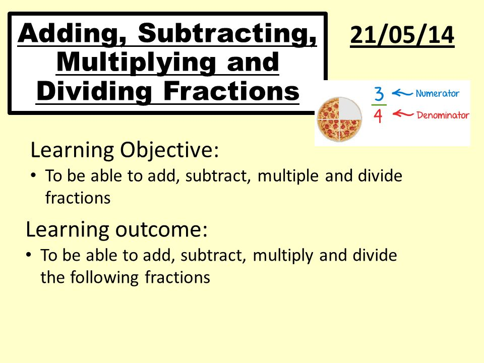 Adding, Subtracting, Multiplying and Dividing Fractions ...