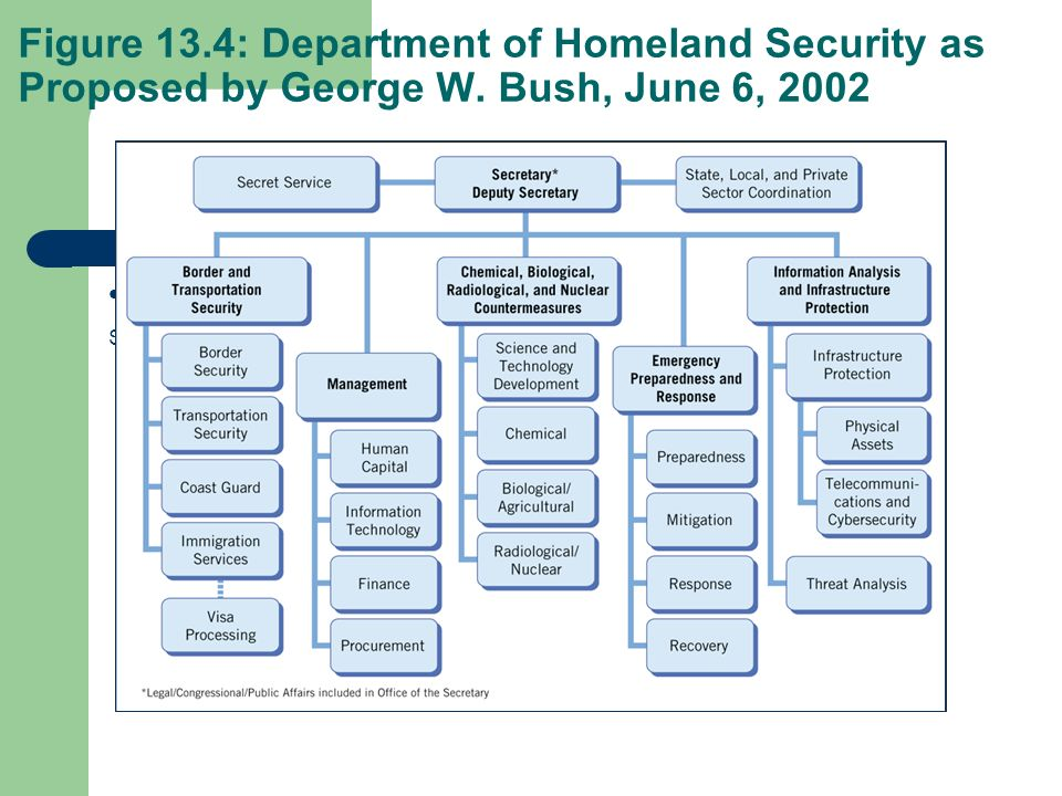 Figure 13. 4: Department of Homeland Security as Proposed by George W