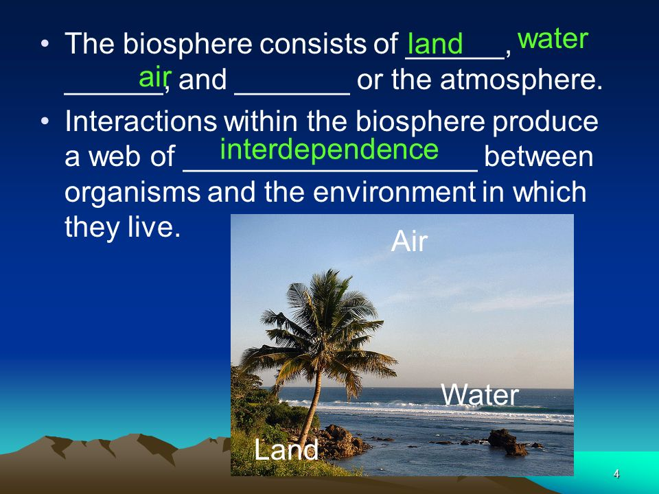 water The biosphere consists of ______, ______, and _______ or the atmosphere.
