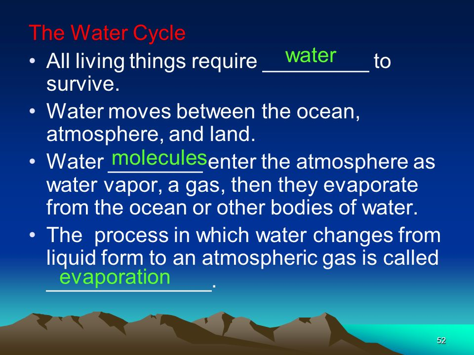 The Water Cycle All living things require _________ to survive. Water moves between the ocean, atmosphere, and land.