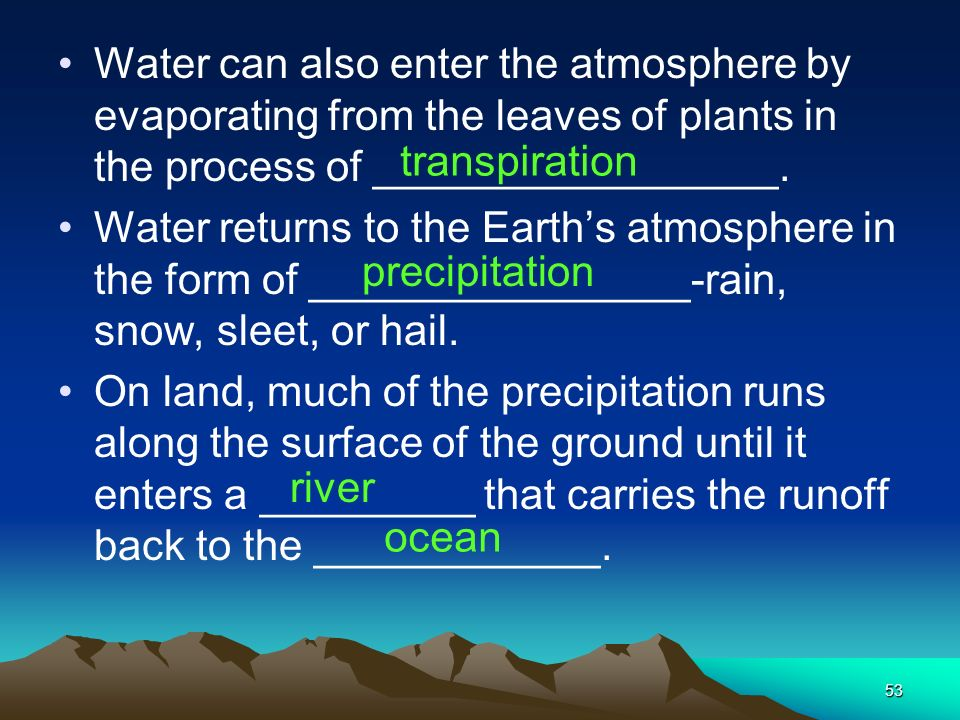 Water can also enter the atmosphere by evaporating from the leaves of plants in the process of _________________.