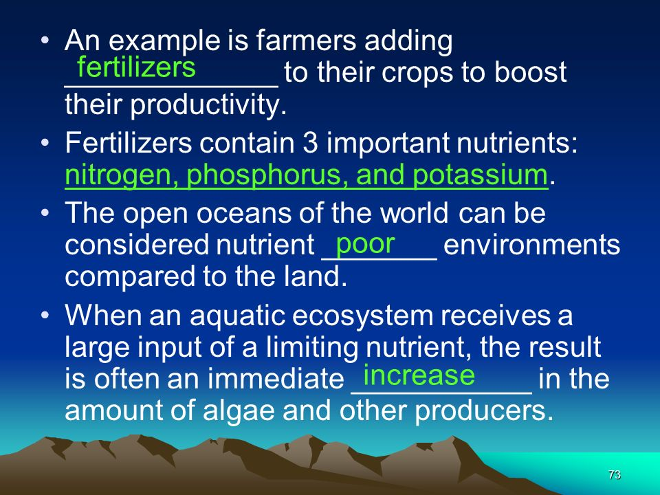 An example is farmers adding _____________ to their crops to boost their productivity.