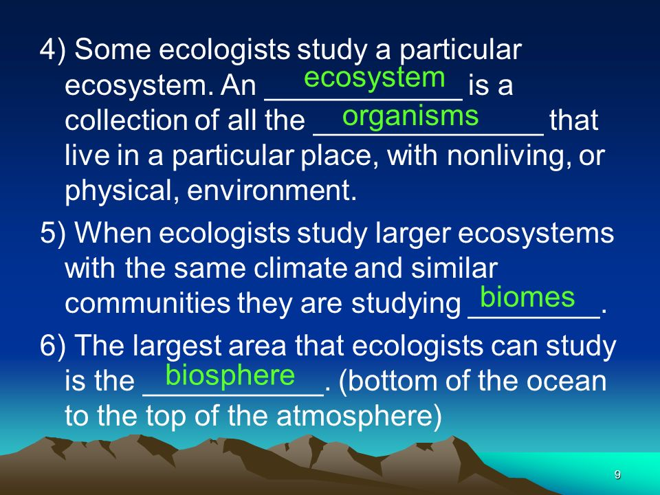 4) Some ecologists study a particular ecosystem