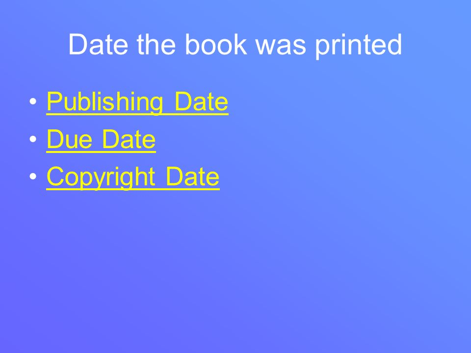 Date the book was printed