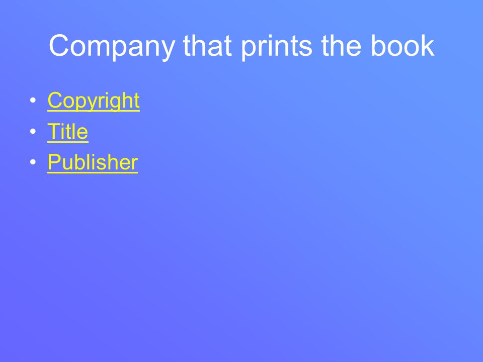 Company that prints the book