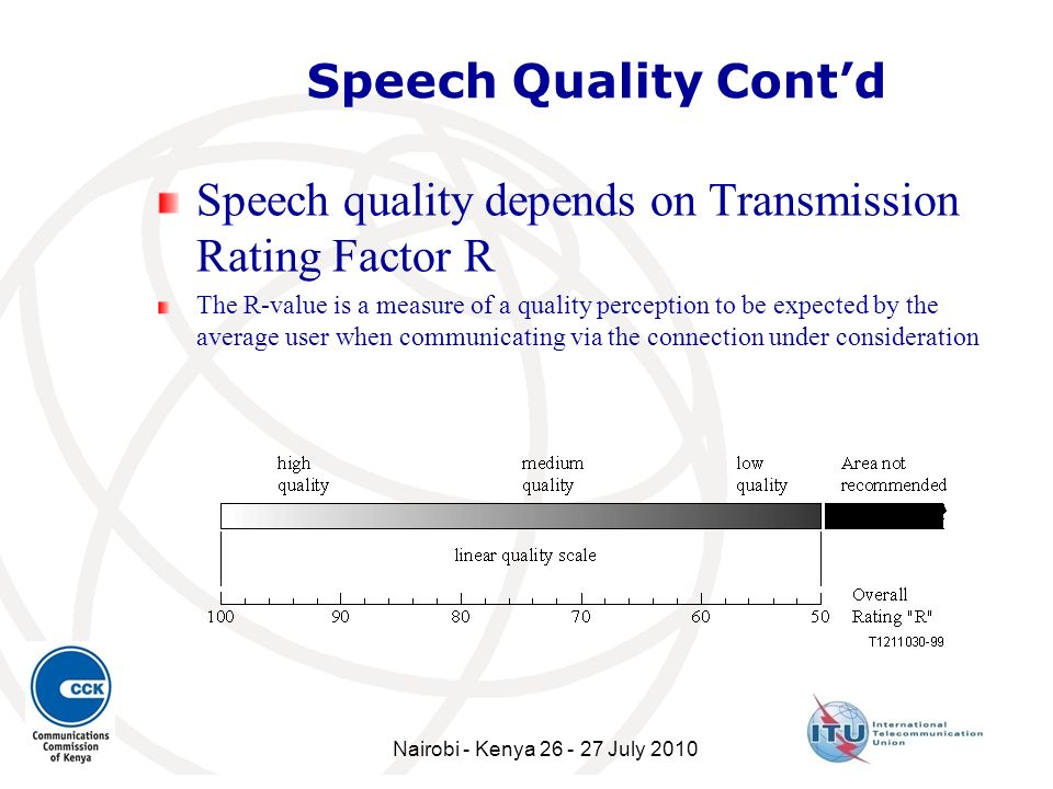 Speech quality depends on Transmission Rating Factor R