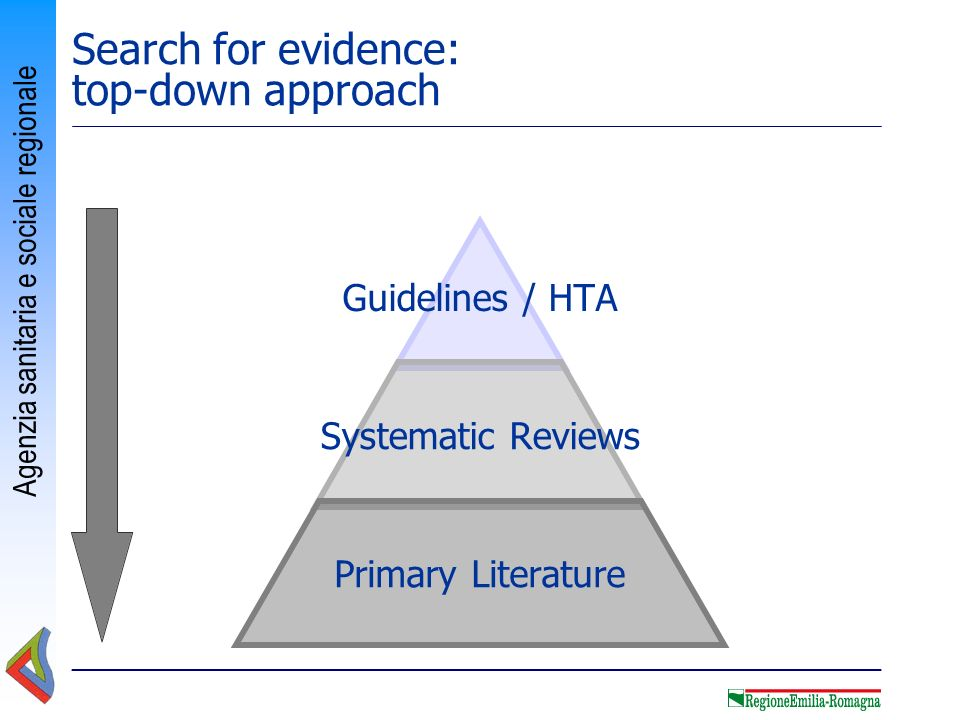 Search for evidence: top-down approach