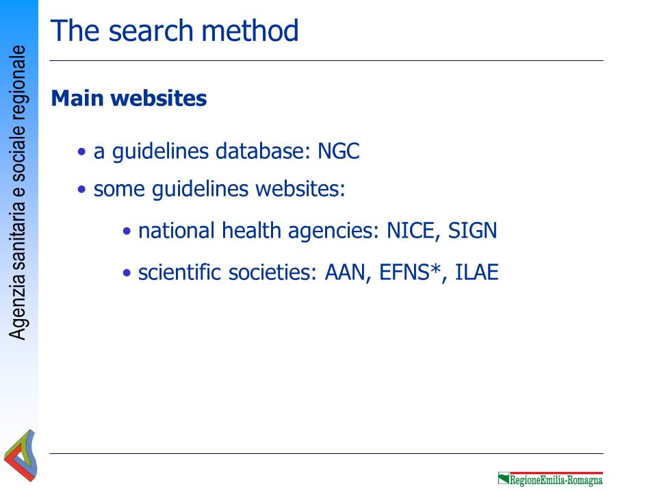 The search method Main websites a guidelines database: NGC
