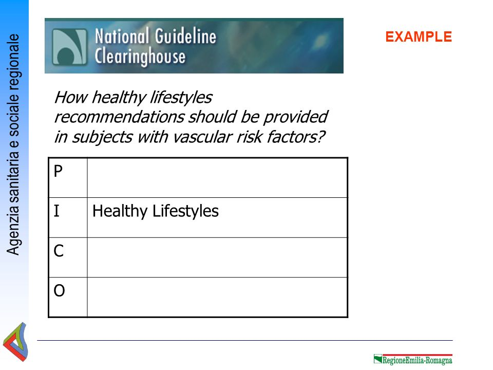 EXAMPLE How healthy lifestyles recommendations should be provided in subjects with vascular risk factors