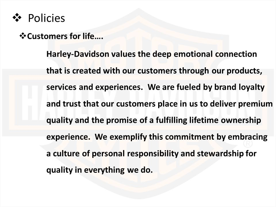 Harley Davidson Values >> Strategic Audit Of Harley Davidson Ppt Video Online Download