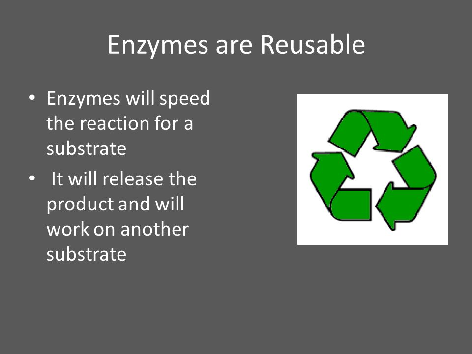 Enzymes are Reusable Enzymes will speed the reaction for a substrate