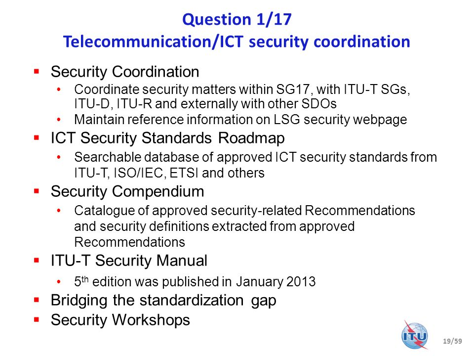 Question 1/17 Telecommunication/ICT security coordination