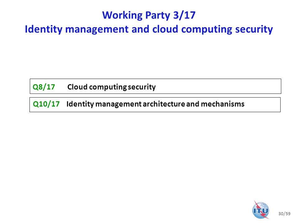 Working Party 3/17 Identity management and cloud computing security