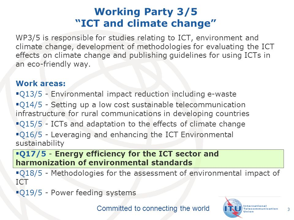 Working Party 3/5 ICT and climate change