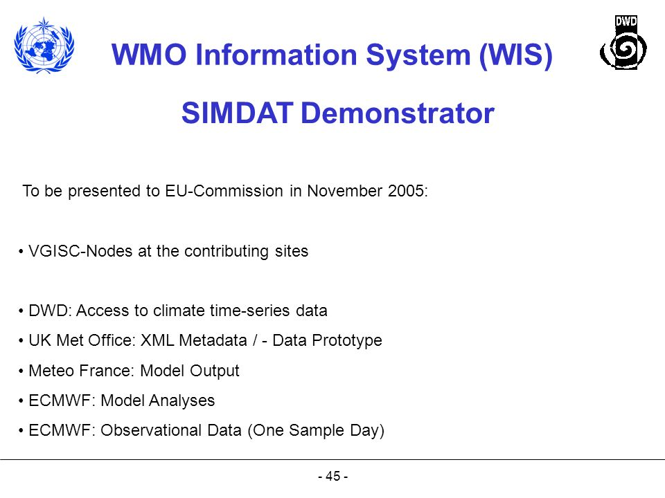 SIMDAT Demonstrator To be presented to EU-Commission in November 2005: