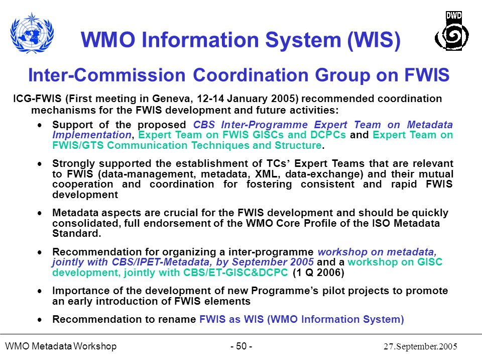 Inter-Commission Coordination Group on FWIS