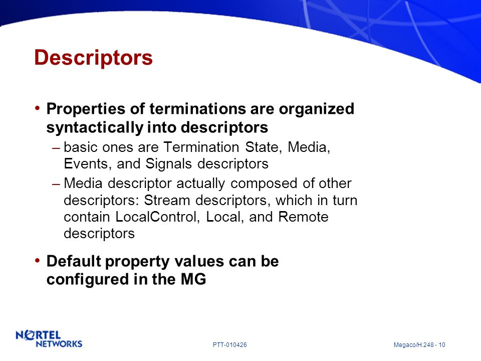 Descriptors Properties of terminations are organized syntactically into descriptors.