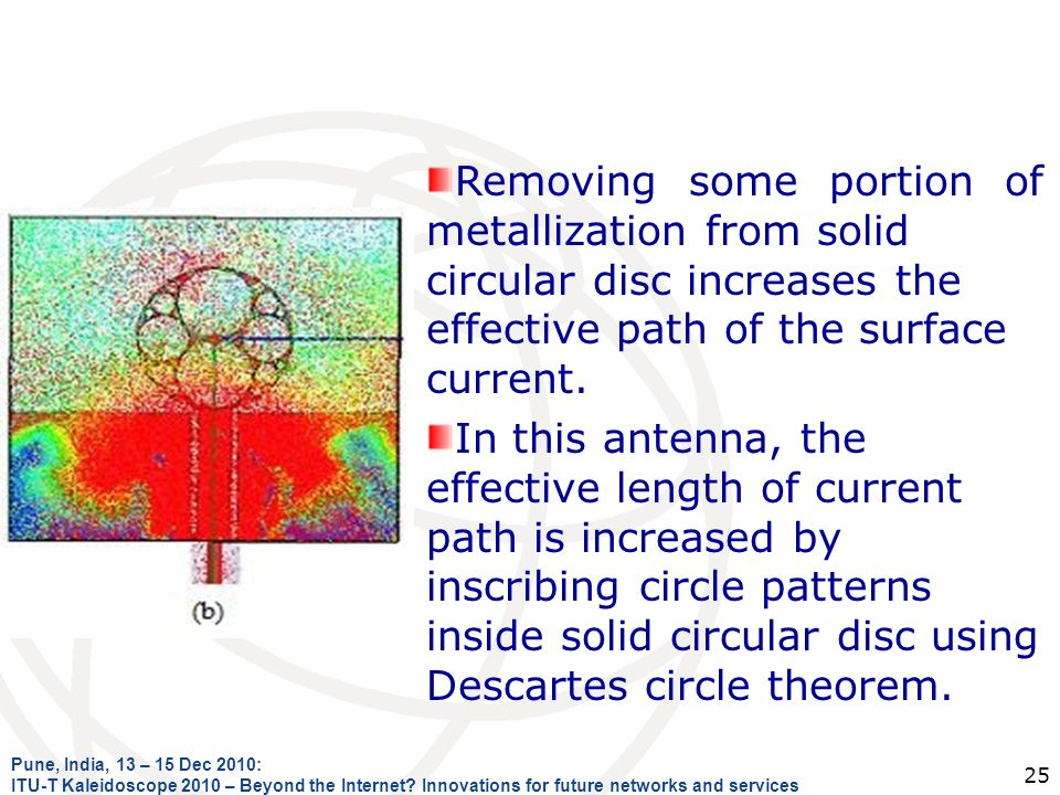 Removing some portion of metallization from solid circular disc increases the effective path of the surface current.