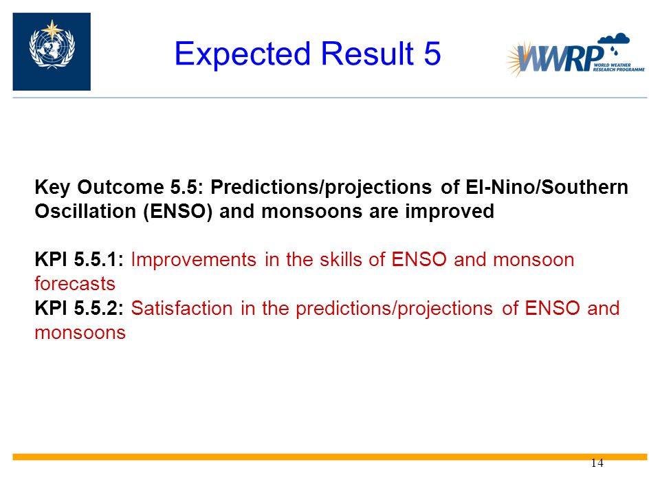 Expected Result 5 Key Outcome 5.5: Predictions/projections of El-Nino/Southern Oscillation (ENSO) and monsoons are improved.