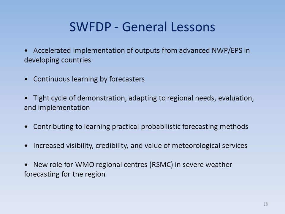 SWFDP - General Lessons