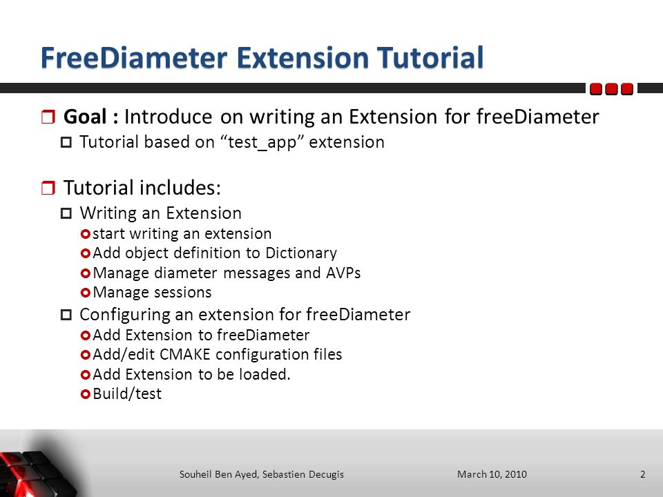 Implementing an extension for freeDiameter - ppt download