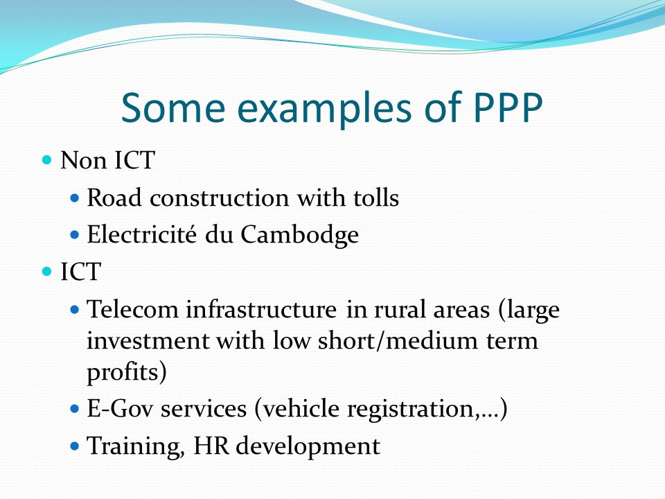 Some examples of PPP Non ICT Road construction with tolls