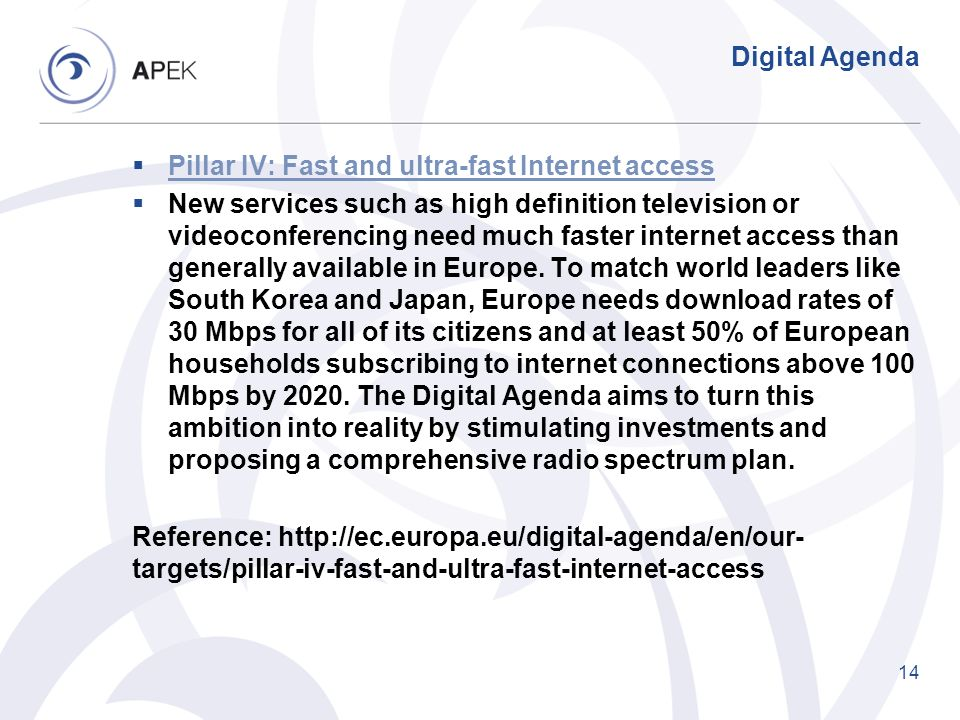 Digital Agenda Pillar IV: Fast and ultra-fast Internet access.