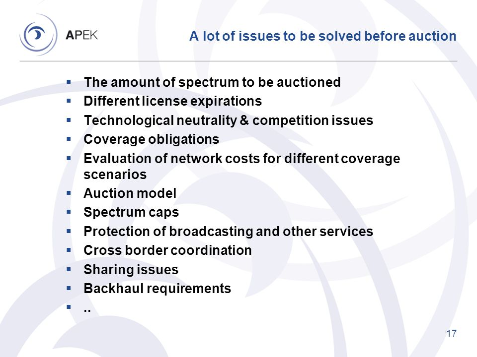 A lot of issues to be solved before auction