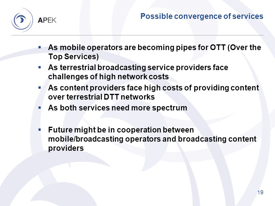 Possible convergence of services