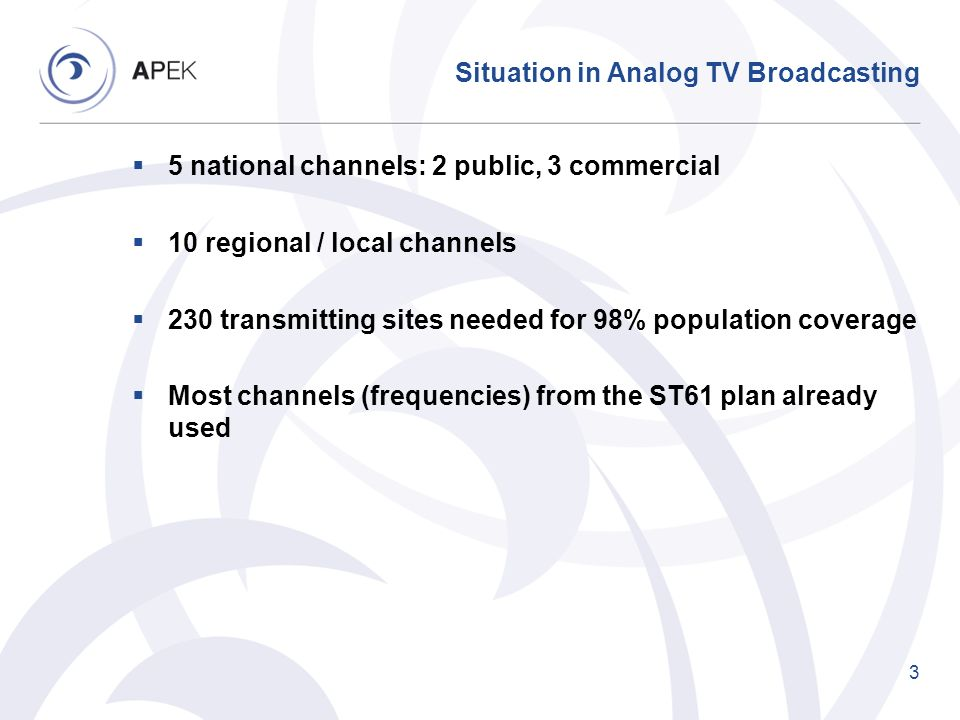 Situation in Analog TV Broadcasting