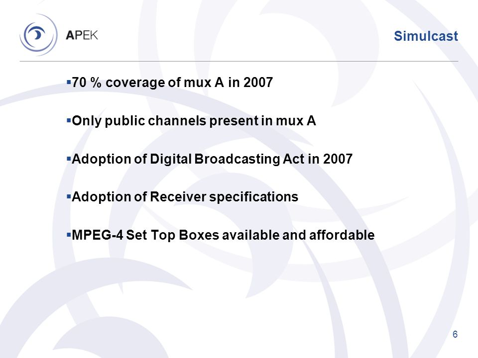 Simulcast 70 % coverage of mux A in 2007. Only public channels present in mux A. Adoption of Digital Broadcasting Act in 2007.