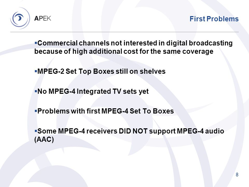 First Problems Commercial channels not interested in digital broadcasting because of high additional cost for the same coverage.