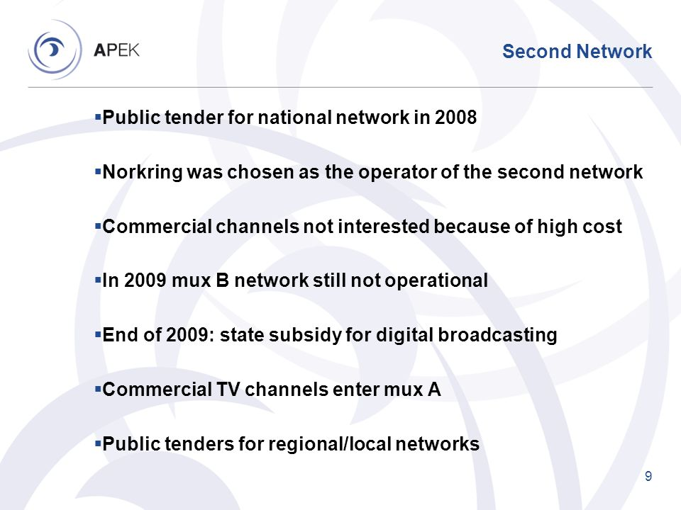 Second Network Public tender for national network in 2008. Norkring was chosen as the operator of the second network.