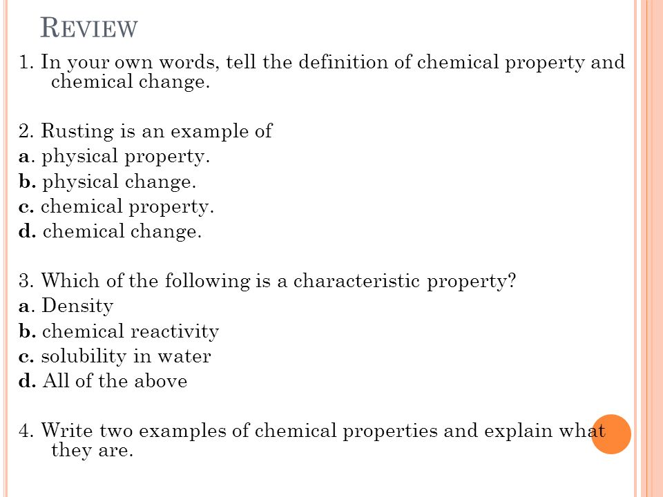 Chemical Properties And Chemical Changes Ppt Video