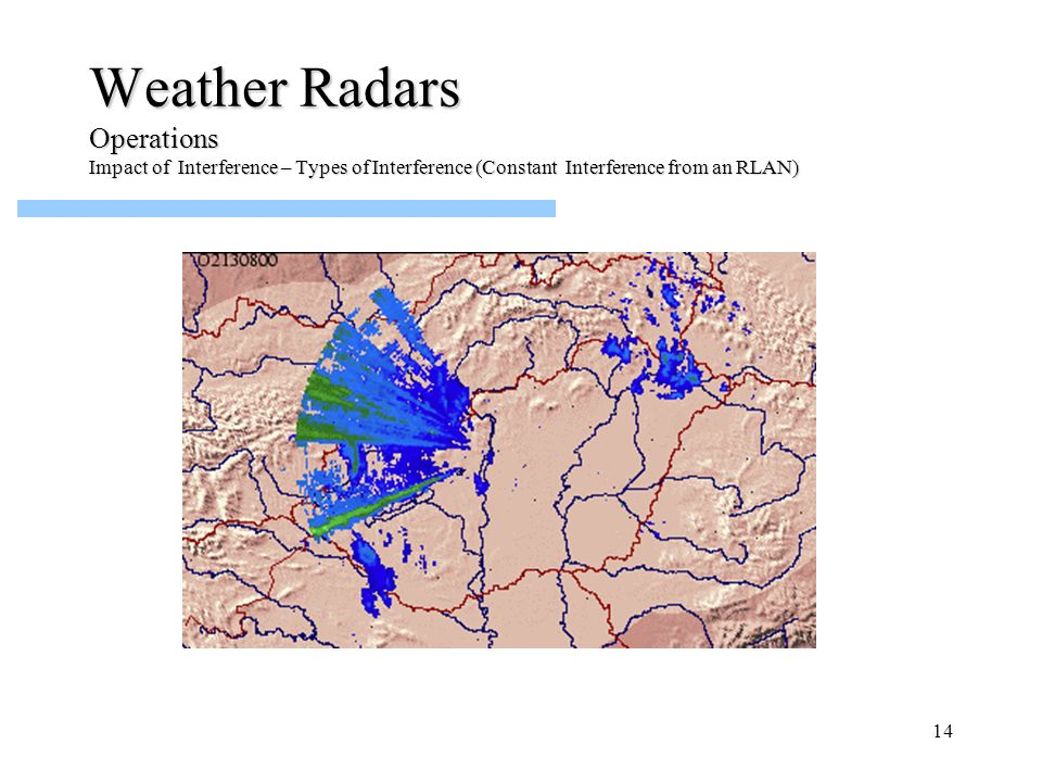 Weather Radars Operations Impact of Interference – Types of Interference (Constant Interference from an RLAN)