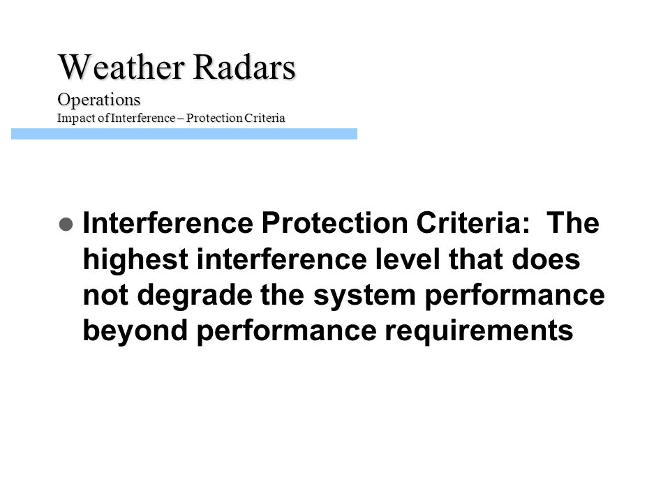 Weather Radars Operations Impact of Interference – Protection Criteria