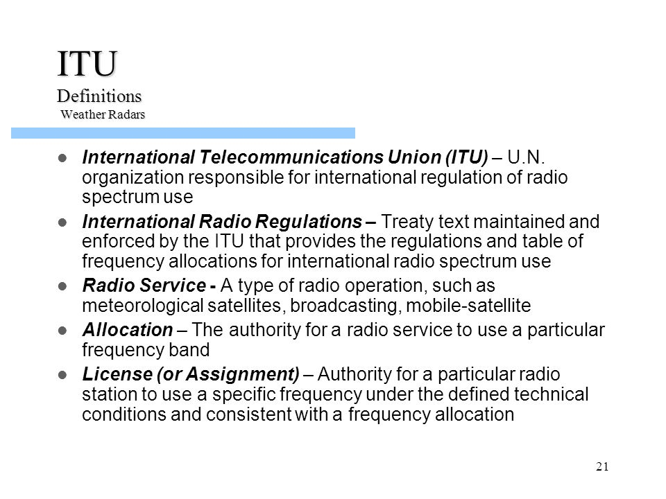 ITU Definitions Weather Radars