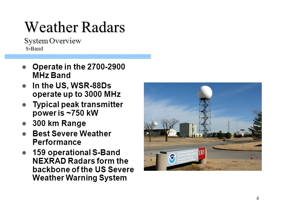Weather Radars System Overview S-Band
