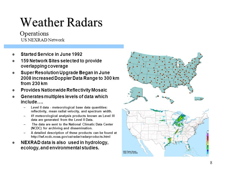Weather Radars Operations US NEXRAD Network