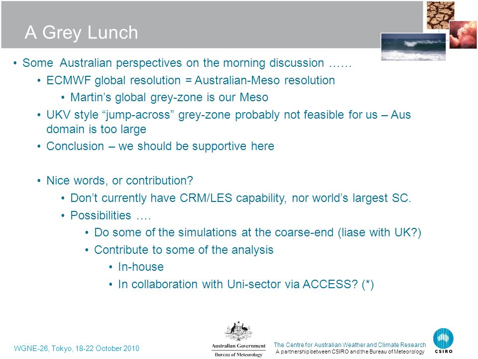 A Grey Lunch Some Australian perspectives on the morning discussion ……