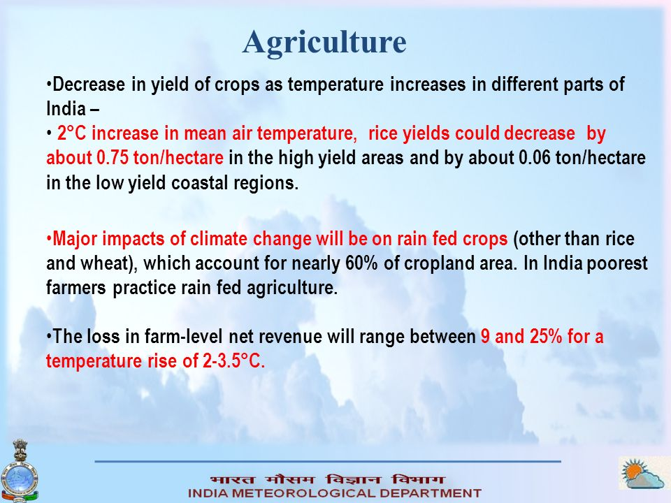 Agriculture Decrease in yield of crops as temperature increases in different parts of India –