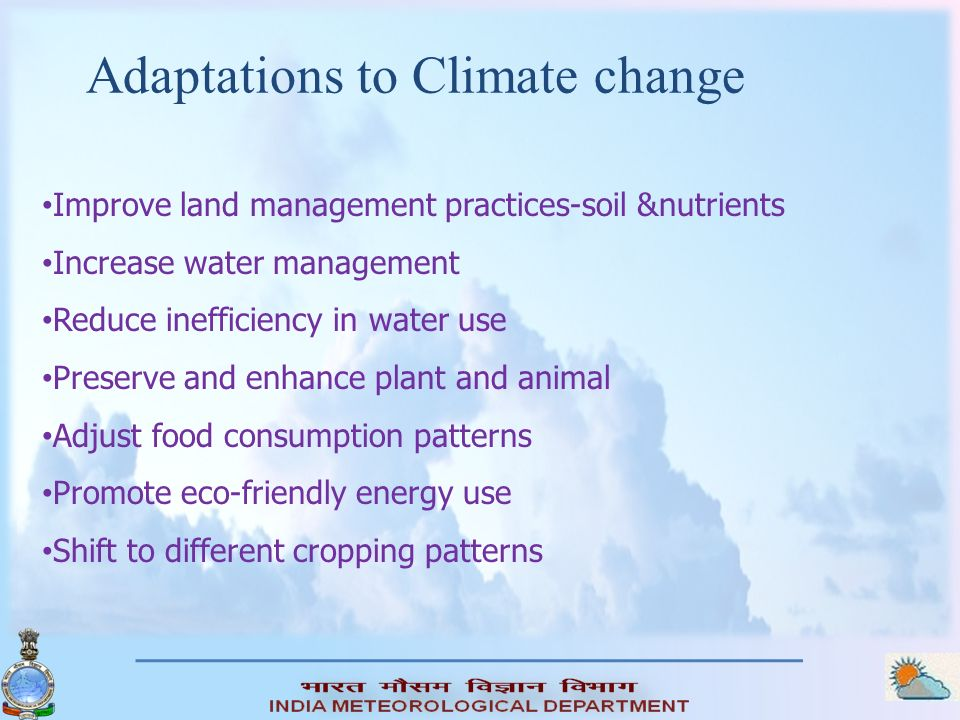 Adaptations to Climate change