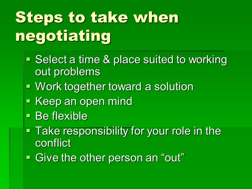 Steps to take when negotiating