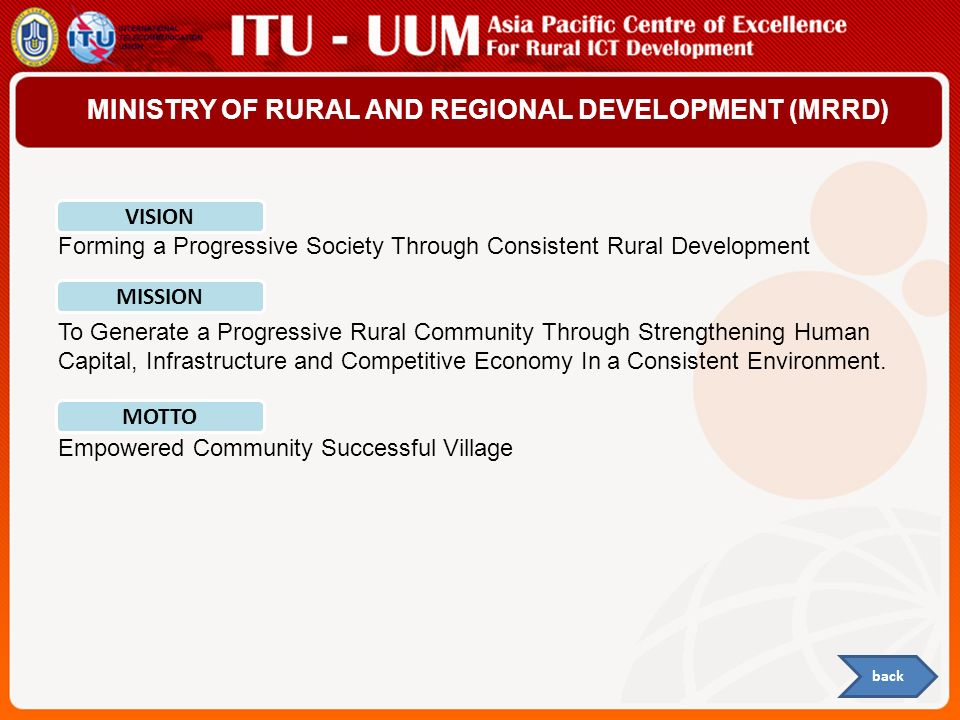 MINISTRY OF RURAL AND REGIONAL DEVELOPMENT (MRRD)