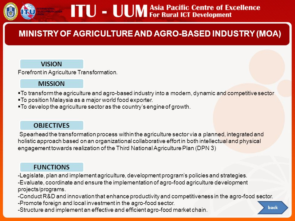 MINISTRY OF AGRICULTURE AND AGRO-BASED INDUSTRY (MOA)