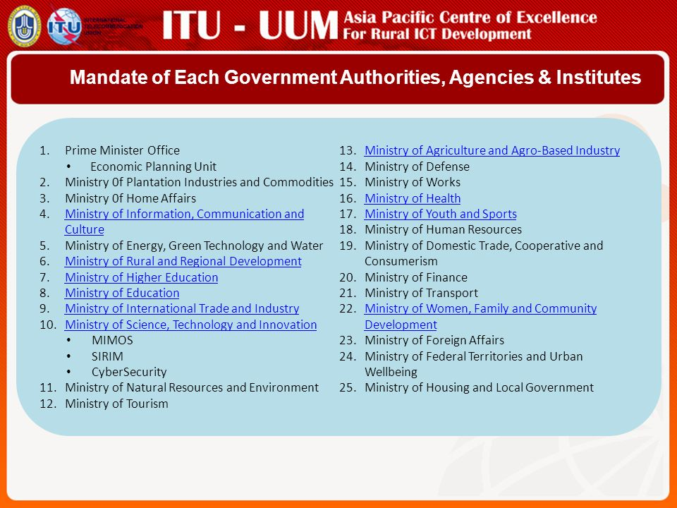 Mandate of Each Government Authorities, Agencies & Institutes